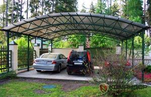 Фото навеса из поликарбоната для 3-х автомобилей. Размер 8,5х8.