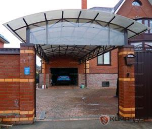 Навес между воротами и домом, размером 4х12
